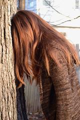 Morose (KellyZanotti) Tags: light brown tree texture girl river hair model nikon friend 365 dslr leaning nikondslr 365project d3100 nikond3100