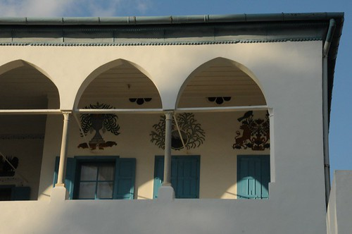 Balcony with stencil art near Bahá'u'lláh's room