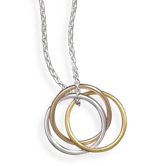 33317 - 16 in.  Necklace with Tri Tone Rings