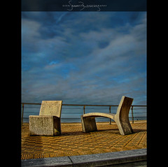 Have a Seat, Stay a While! (Il.Falco) Tags: sea sky stone clouds photoshop coast sand belgium belgië benches oostende bel hdr highdynamicrange ostend hdri topaz vlaanderen ilfalco photomatix tonemapped tonemapping tonemap colorefex cs5 niksoftware detailenhancer silverefex topazadjust doublyniceshot tripleniceshot svenbauwens camereraw