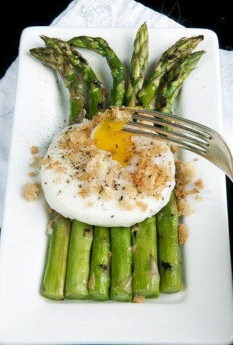 asparagus, egg w broken yolk red