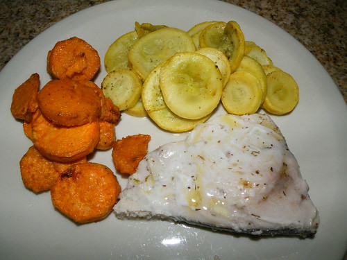 Swordfish with sweet potatoes and squash