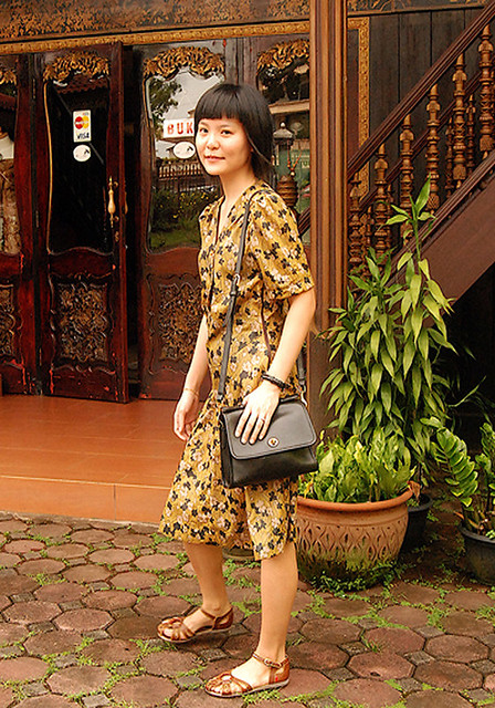 flowery mustard 'swing dress'
