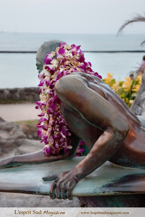 Surfer tribute on Waikiki Beach