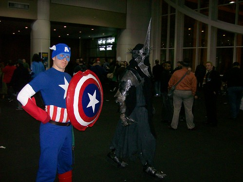 Captain America and passerby