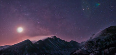 Glacier Gorge Light Show (Mike Berenson - Colorado Captures) Tags: winter sky moon snow weather night stars nationalpark colorado glow wind sagittarius teapot longspeak aquarius lupus blowingsnow allrightsreserved rockymountainnationalpark milkyway dreamlake glaciergorge capricornus topazadjust coloradocaptures mikeberenson copyright2011bymikeberenson