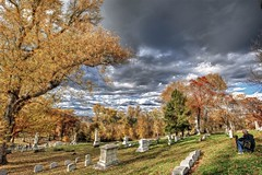 Allegheny Cemetery view HDR (Dave DiCello) Tags: autumn trees fall colors cemetery photoshop nikon day cloudy path tomb walkway nikkor hdr alleghenycemetery tonemapped cs5 d700 davedicello hdrefex hdrexposed