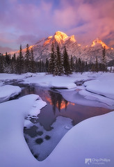 Mount Kidd Reflecting Pools Winter (Chip Phillips) Tags: pink winter snow canada ice sunrise kananaskis reflecting frozen country rocky mount pools alberta banff kidd moutains alpenglow colorphotoaward bratanesque
