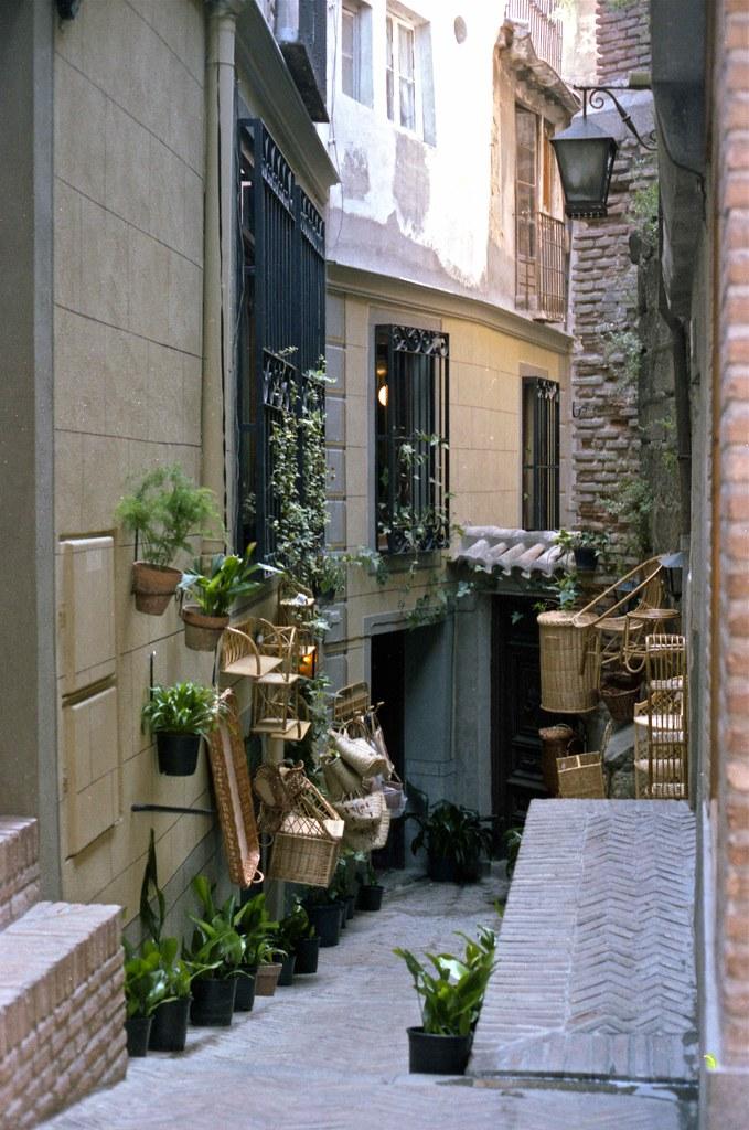 Floristería en un Callejón junto a la Calle Hombre de Palo en Toledo hacia 1967. Fotografía de John Fyfe