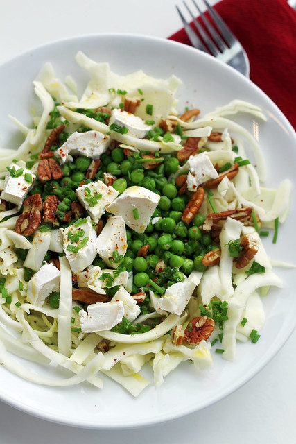 White Cabbage, Peas and Goat Cheese