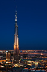 The Jewel Of Dubai (DanielKHC) Tags: world blue tower night reflections gold lights high nikon bravo long e