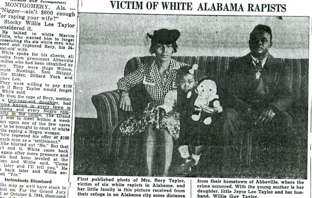 Recy Taylor, Willie Guy Taylor, and their child, Joyce Lee Taylor (Courtesy of the Chicago Defender)