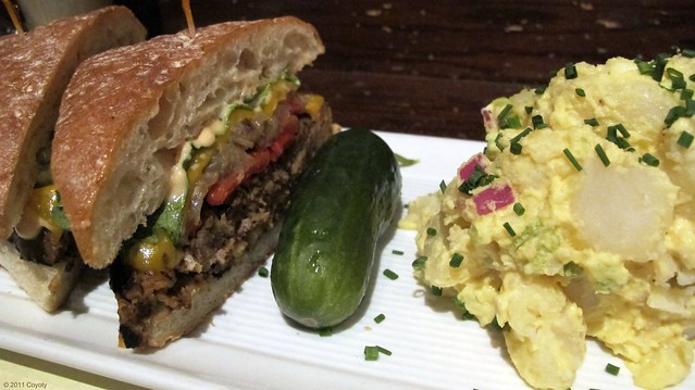 Irish Rover sandwich, potato salad, and pickle