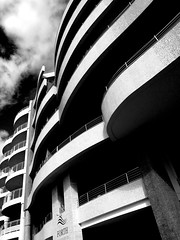 Forth Mansions (albireo 2006) Tags: blackandwhite bw building architecture facade curves malta balconies blackandwhitephotos taxbiex blackwhitephotos forthmansions