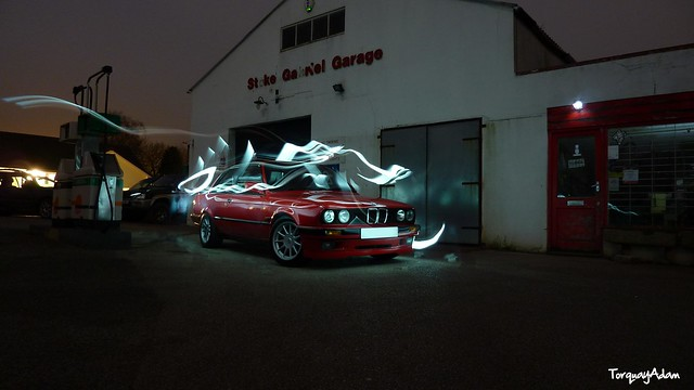 light painting 328 bmw e30 bmwe30 tz7 worldcars zs3 panasonictz7 panasoniczs3 rede30 e3024v e30328 e30coupe tz7panasonic