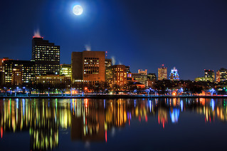 Blue Moon Over The Boston Skyline
