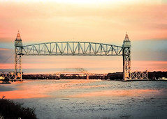 the Bridges of Plymouth County (Mary Vican) Tags: pink sunset tower water architecture canal glow arch purple sundown dusk capecod scenic bourne railroadbridge waterway wareham bournebridge route6 uppercape