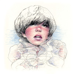 g i r l s 12 / color version (Ken Mat) Tags: portrait woman color girl beauty illustration pencil drawing commission ruffle