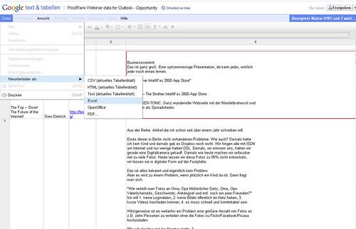 Blog in Excel Vollbildaufzeichnung