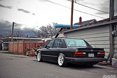 Ian's BMW e28 535is (Dylan King Photography) Tags: white canada dice black car sedan french alley nikon friend bc britishcolumbia steel painted side rear 1988 front diamond 80s valve bmw covers rims schwartz ians camber 5series fogs e28 vanocuver 2011 535is d90 4door richmod steelies
