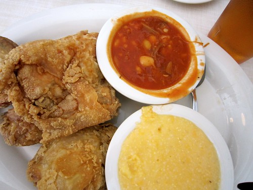 Fried Chicken, Brunswick Stew and Cheese Grits