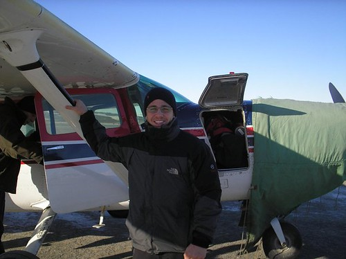 Mike Grillo '11 gets ready to board a small plane to another remote Alaskan village.