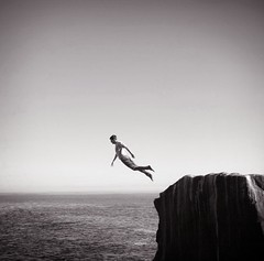 (brianoldham) Tags: ocean boy sky blackandwhite cliff fall water rock jump jumping horizon falling 365 brianoldham