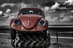 Is That You Dean? (Stubble Jumper Photography) Tags: vw volkswagen beetle bug type1 peoplescar deanjones selectivecolor red blue