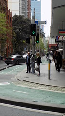 Sydney city NSW Bicycle tracks in roadway 2 (bicycle track crossing signal lights and track) - Sept 2016 (nicephotog) Tags: sydney nsw road city transport green bicycle track traffic signal lights crossing