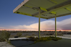 Into the Storm (Lost America) Tags: lightpainting abandoned night clouds desert gasstation fullmoon timeexposure mojave petrol canopy nocturnes northedwards