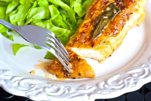 pan roasted chicken breast with sage vermouth sauce
