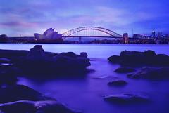 Sydney On The Rocks (Dan_Colquhoun) Tags: bridge blue water harbour dusk sydney australia nsw sydneyharbourbridge catchycolorsblue