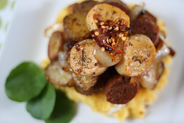 Field Roast, Oyster Mushrooms and Tiny Potatoes Over Polenta