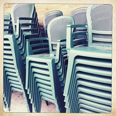 (Joie de Vivre) Tags: green chair many stack plastic iphone hipstamatic