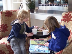 Silas & his friend Abby stop for a snack at the frozen yogurt joint
