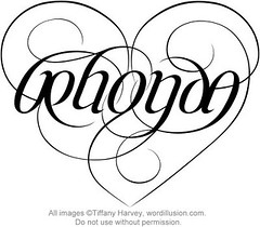 """Rhonda"" Ambigram Heart"