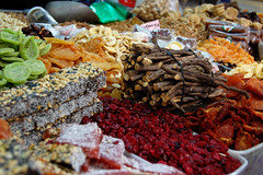 Candied Fruit and Licorice Sticks (L e n o r a) Tags: israel telaviv market bazaar licorice shukhacarmel candiedfruit carmelmarket licoricesticks