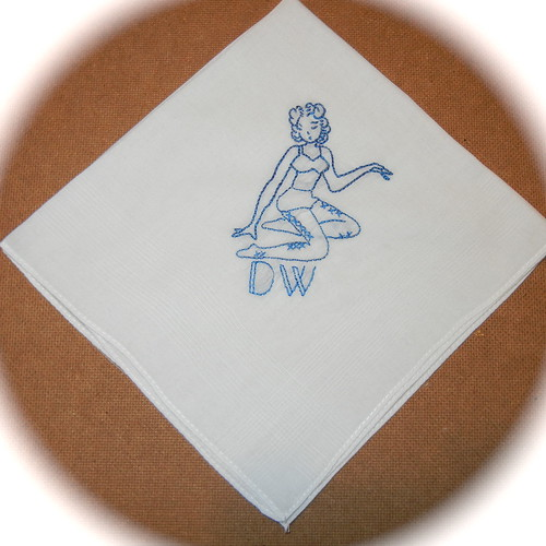 Hand Embroidered Pin Up Girl Handkerchief with Deco Initials