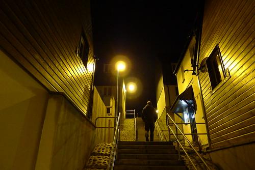 'ryn (maf*pHew) Tags: new light urban yellow modern night stairs concrete sodium banal penryn spnp streetphotographynowproject mafphew mafphoto