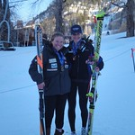 Sarah Freeman and Madison McLeish with their downhill medals, Aspen Nor-Am Cup 2011