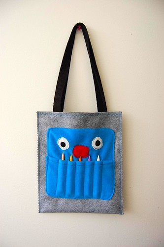 crayon monster art tote tutorial / Marigold & Steve Haske