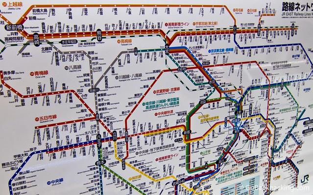 Map of JR Railway Lines in Tokyo