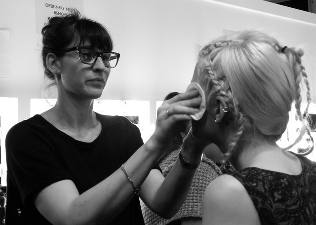 John Rocha backstage at LFW