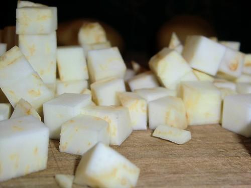 this is celeriac! (cubed)