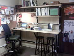Custom Stand-Sit Workstation Desk with Shelving