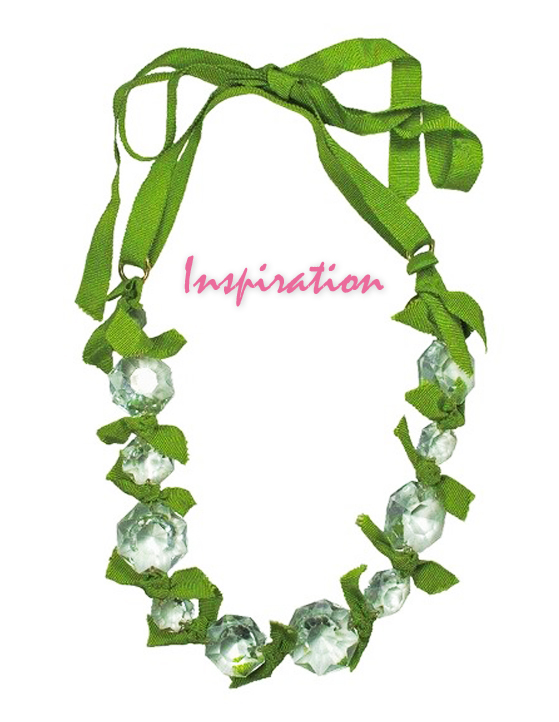 Vintage Crystals with Green Grosgrain Ribbon Statement Necklace DIY