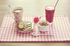 Pink tuesday ( n e l i a) Tags: morning pink flower breakfast bread raspberry dots smoothie muesli