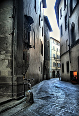 Florence Pathways (` Toshio ') Tags: city italy woman building history window lamp girl bike architecture florence ancient alley europe italia european cityscape path historical firenze hdr highdynamicrange europeanunion toshio