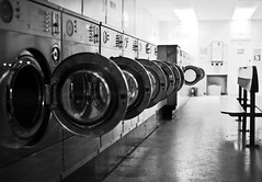Launderette (pandawizard) Tags: blackandwhite bw circle prime pentax circles 14 sigma laundry machines washingmachine laundromat ist washing launderette ds2 30mm sigma30mm pentaxistds2 matchpointwinner