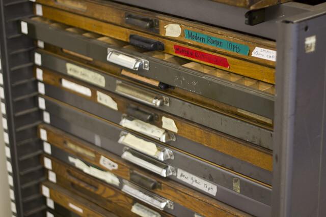 in the letterpress room